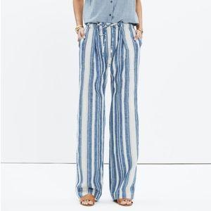NWT Madewell striped drawstring linen pants
